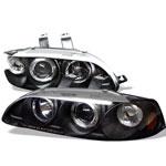 Spyder Honda Civic 2/3DR 1PC Halo Projector Headlights - Black - (PRO-YD-HC921P-23D-AM-BK); 1992-1995