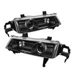 Spyder Honda Prelude Halo Projector Headlights - Black - (PRO-YD-HP92-BK); 1992-1996