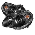 Spyder Mercedes Benz CLK Halo DRL LED Projector Headlights - Black - (PRO-YD-MBCLK03-DRL-BK); 2003-2009