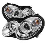 Spyder Mercedes Benz CLK Halo DRL LED Projector Headlights - Chrome - (PRO-YD-MBCLK03-DRL-C); 2003-2009