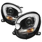 Spyder Mini Cooper Countryman Projector Headlights - Halogen Model Only - LBDRL - Black - (PRO-YD-MCO11-DRL-BK); 2011-2015