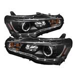 Spyder Mitsubishi Lancer / EVO-10 ( HID Type ) DRL LED Projector Headlights - Black - (PRO-YD-ML08-HID-DRL-BK); 2008-2013