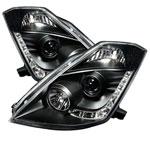 Spyder Nissan 350Z ( HID Version ) DRL LED Projector Headlights - Black - (PRO-YD-N350Z02-HID-DRL-BK); 2003-2005