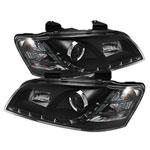 Spyder Pontiac G8 DRL LED Projector Headlights - Black - (PRO-YD-PG808-DRL-BK); 2008-2009