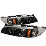 Spyder Pontiac Grand Prix 1PC Halo Projector Headlights - Black - (PRO-YD-PGP97-1PC-HL-BK); 1997-2003