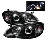 Spyder Toyota Corolla Halo LED ( Replaceable LEDs ) Projector Headlights - Black - (PRO-YD-TC03-HL-BK); 2003-2008