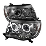 Spyder Toyota Tacoma CCFL LED ( Replaceable LEDs ) Projector Headlights - Smoke - (PRO-YD-TT05-CCFL-SM); 2005-2010