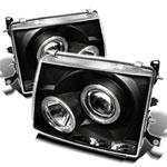 Spyder Toyota Tacoma Halo LED ( Replaceable LEDs ) Projector Headlights - Black - (PRO-YD-TT97-HL-BK); 1997-2000