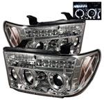 Spyder Toyota Tundra Halo LED ( Replaceable LEDs ) Projector Headlights - Chrome - (PRO-YD-TTU07-HL-C); 2007-2013