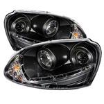 Spyder Volkswagen Jetta HID Type DRL LED Projector Headlights - Black - (PRO-YD-VG06-HID-DRL-BK); 2006-2009