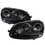 Spyder Volkswagen GTI Halo LED Projector Headlights - Black - (PRO-YD-VG06-HL-BK); 2006-2009