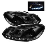 Spyder Volkswagen Golf / GTI ( Non HID ) DRL Projector Headlights - Black - (PRO-YD-VG10-DRL-BK); 2010-2012