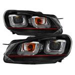 Spyder Volkswagen Golf / GTI Version 3 Projector Headlights - Halogen Model Only - Dual U DRL - Black - (PRO-YD-VG10V3R-DRL-BK); 2010-2013