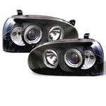 Spyder Volkswagen Golf III Halo Projector Headlights - Black - (PRO-YD-VG92-BK); 1993-1998