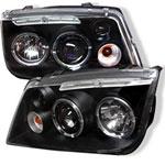 Spyder Volkswagen Jetta Halo LED Projector Headlights - Black - (PRO-YD-VJ99-HL-BK); 1999-2005
