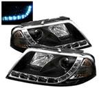 Spyder Volkswagen Passat B5 DRL LED Projector Headlights - Black - (PRO-YD-VP01-DRL-BK); 2001-2005