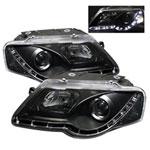 Spyder Volkswagen Passat B6 DRL LED Projector Headlights - Black - (PRO-YD-VP06-DRL-BK); 2006-2008
