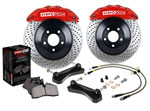 StopTech Volkswagen Golf Big Brake Kit ST41 Silver Calipers & 1-Piece No Coating Slotted Rotors, Front; 2015-2017