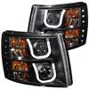 ANZO USA Chevrolet Silverado Hd Projector Headlights W/ U-Bar Black, 2007-2014