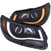 ANZO USA Chevrolet Colorado Projector Headlights W/ Plank Style Switchback Black W/ Amber; 2015-2017
