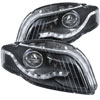 ANZO USA Audi Rs4 B7 Bodystyle Projector Headlights W/ Halo Black G2; 2006-2008