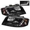 Spyder Audi A6 02-04 DRL LED Projector Headlights - Black  - (PRO-YD-ADA601-DRL-BK)