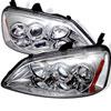 Spyder Honda Civic 01-03 2/4DR (Non SI Model) Halo Projector Headlights - Chrome